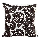 KIKOY Colourful Leaf Print Pillow Sofa Waist Throw Cushion Cover Home Decor Cushion Cover Case (Brown)