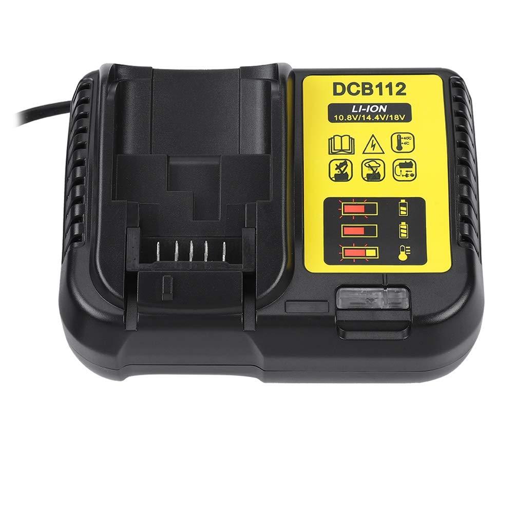 V BESTLIFE Cargador de Bater/ía de Litio de Ion 10.8V-18V Cargador Inteligente 50 60HZ 100-260V para DEWALT DCB112 EU