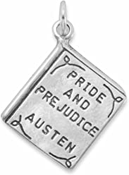 Sterling Silver Charm, PRIDE AND PREJUDICE, AUSTEN Book, 7/8 inch