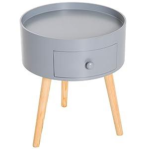 homcom Tavolino da Salotto Moderno con Cassetto Soggiorno Legno Ф38 × 45cm Grigio