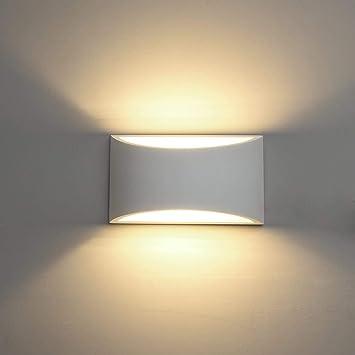 Deckey Gips Wandlamp Muurlamp Overschilderbaar Gips Verlichting Wandlamp Binnen Voor Slaakamer Of Woonkamer Gips Wandlamp Geschikt Voor Een Led Lamp G9 Fittingwandlampen Warm Wit 3w Amazon Nl