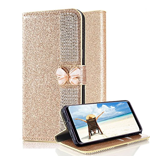 For Samsung Galaxy S9 Plus Leather Wallet Case,Aearl Claw Chain Crystal Diamond Rhinestone Glitter Bling Bowknot Buckle Flip Plug-in Card Holder Case with Screen Protector Samsung Galaxy S9 Plus -Gold
