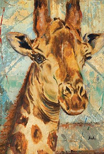 Toland Home Garden Hand Painted Giraffe Animal Portrait House - Distressed Portrait