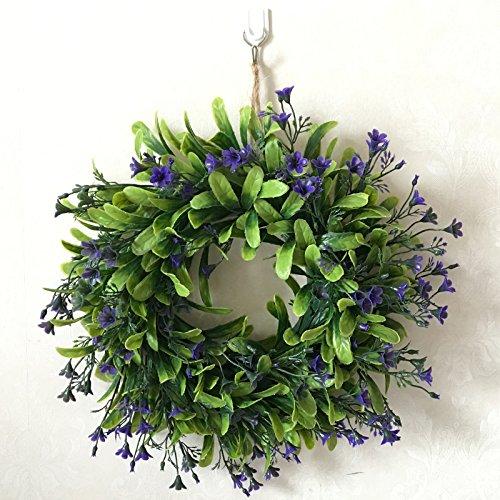 Zehui Lifelike Artificial Green Leaf Wreath Flowers Door Hanging Wall Window Decoration Wedding Party Christmas Decor No Powder E# Outer Diameter -
