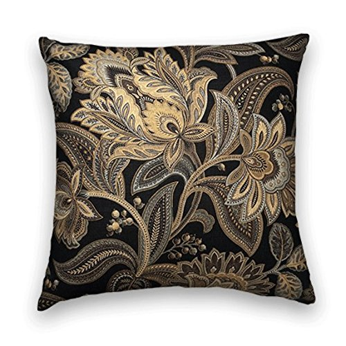 Black Gold Floral Decorative Throw Pillow Cover