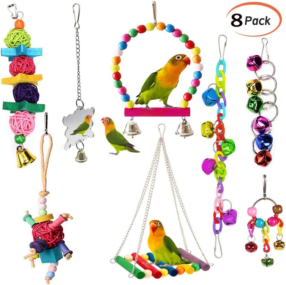 Wooden Hanging Ladder Swing Bridge Cage Toys For Parrot Bird Mouse Rat Hamster Y