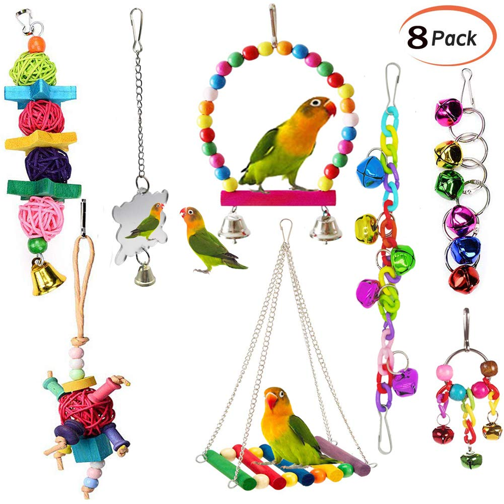 ESRISE 8 Pcs Bird ParrotToys, Hanging Bell Pet Bird Cage Hammock Swing Toy Wooden Perch Chewing Toy for Large Parrots,Conures, Love Birds, Small Parakeets Cockatiels, Macaws, Finches by ESRISE