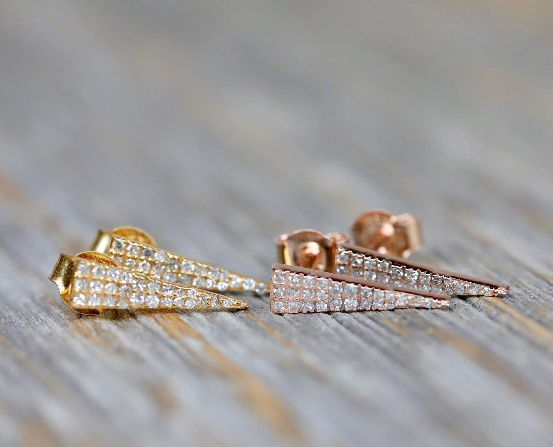 Pave Diamond Stud Earrings EA-5461 14k Yellow Gold Stud Earrings Diamond Pave Studs Diamond Triangle Stud Earrings Mother/'s Day Gift