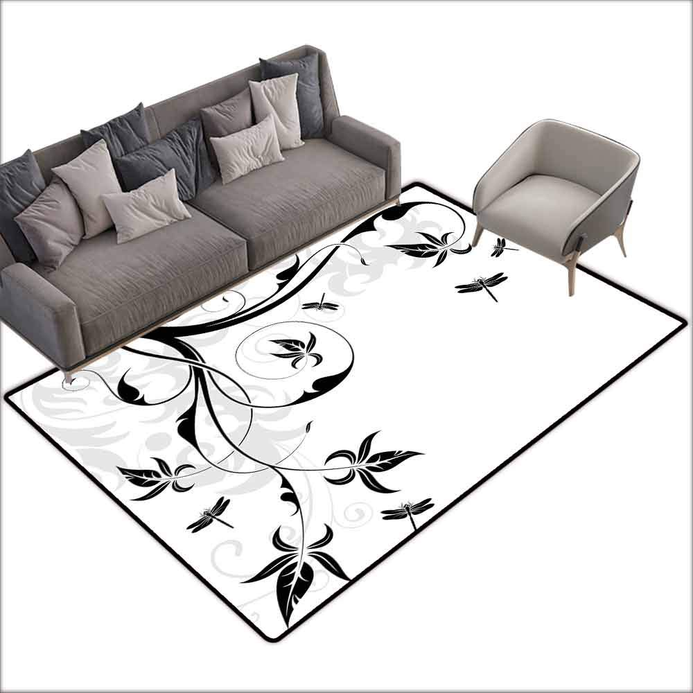 Rug Bathroom Mat Dragonfly,Swirled Floral Background with Damask Curl Branches and Leaves Print,Light Grey Black White 48''x 60'',American Floor mats