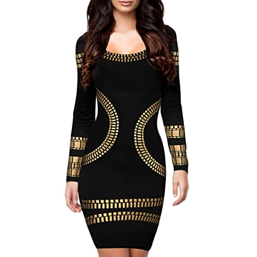Inshine Women Cut out Long Sleeves Gold Foil Print Party Cocktail Dresses