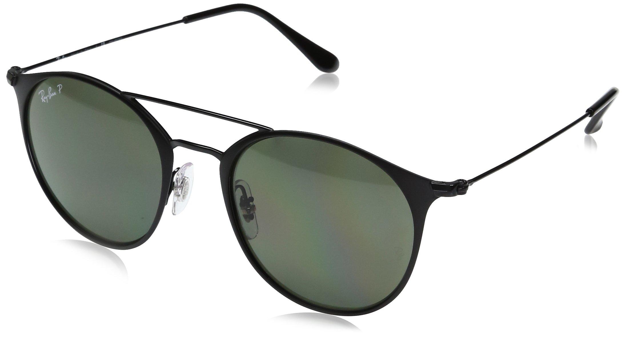 Ray-Ban Steel Unisex Polarized Round Sunglasses, Black Top Matte Black, 52 mm