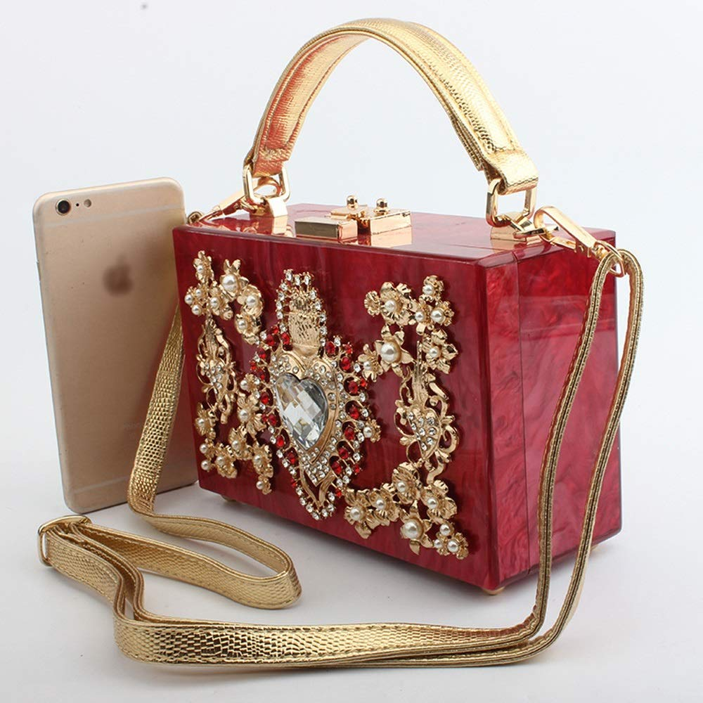 Color : Pink DDSS Shoulder Bags 6 Colors Available //-// Fashion Creative Love Cutout Diamond Engraved Wedding Dinner Crossbody Shoulder Handle Square Bag Acrylic//Alloy Flower