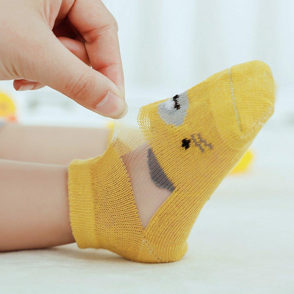 elegantstunning 3 Pairs Children Summer Mesh Breathable Socks Cute Cartoon Socks