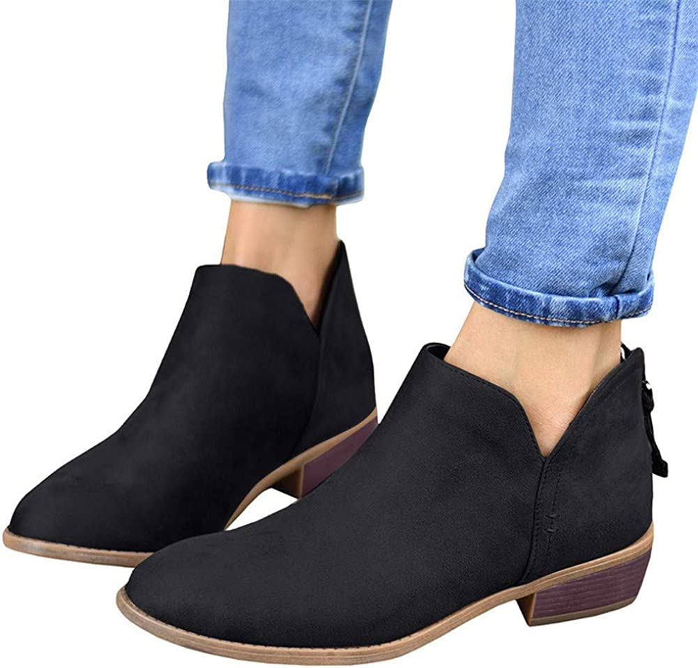 Womens Fashion Casual Pointed Toe Lace Up Ankle Black Boots Low Heel Shoes New