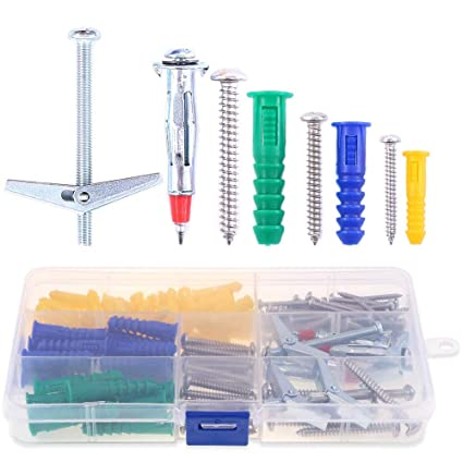 Hilitchi 112 Pieces Large and Small Plastic Self-Drilling Drywall and Hollow-Wall Anchor with Screws Kit