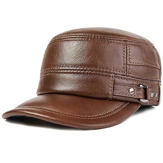 Gorras de plato Hombre Los hombres de cuero de invierno gorra de ...