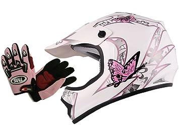 TMS Youth & Kids Pink/White Butterfly Dirt Bike ATV Helmet MX w/Motocross