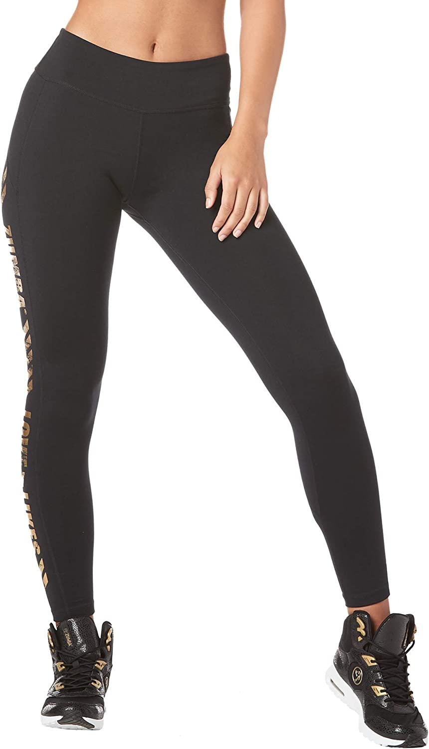 Zumba Soft Fitness Wide Waistband Workout Compression Print Leggings for Women
