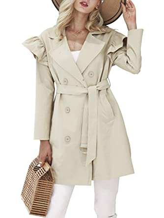 87147a314d6 BerryGo Women s Lapel Collar Double Breasted Trench Coat with Belt(Khaki ...