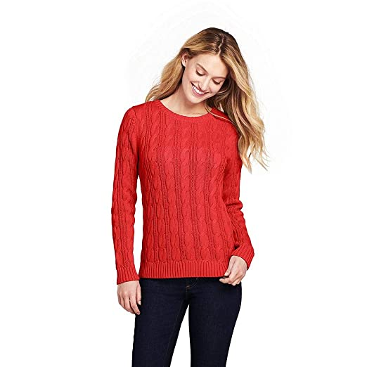 f62ba14aabd1 Image Unavailable. Image not available for. Color: Lands' End Women's Tall  Drifter Cotton Cable Knit Sweater ...