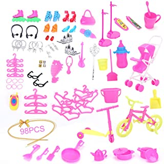 YaptheS 98PCS/Set Complete Doll Accessories Kit High Heels Kitchen Supplies Cleaning Tools Clothing Accessories for Barbie Fun Toy for Kids