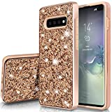 SQMCase Galaxy S10+ Case, Heavy Duty Glitter 2 in 1 Rugged Hybrid Soft TPU Inner + Hard PC Outer with Crystal Shiny Diamond Protective Shockproof Case for Galaxy S10+/ S10 Plus, Shiny/Champagne Gold