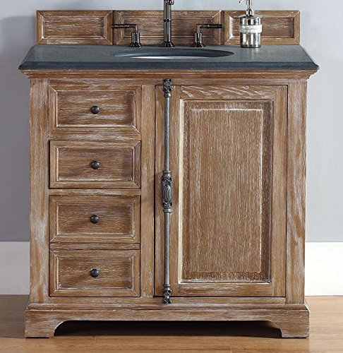 James Martin 238-105-5511-BLK Providence 36 Driftwood Single Vanity with Absolute Black Rustic Stone