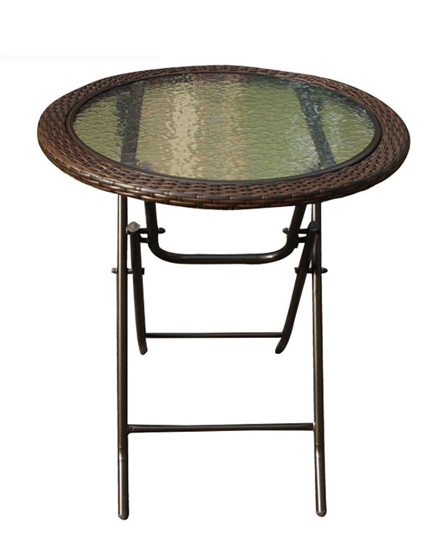 HAIPENG ベッドテーブル 屋外ラウンドテーブルガーデンバルコニーレジャーフォールディングテーブルダイニングテーブルイミテーションラタン ソファーテーブル B07BQGYZWK