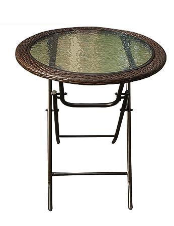 Outdoor Runder Tisch Garten Balkon Freizeit Klapptisch Esstisch Imitation  Rattan