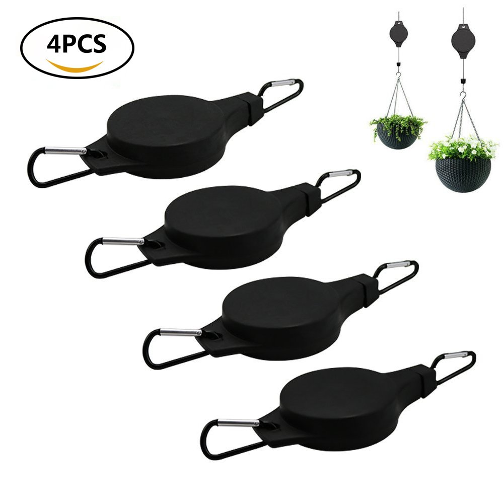 Hanging Basket Hooks Retractable Pulley Plant Hanger Garden Flower and Birds Feeder Hooks for Outdoor and Indoor 4pack by Pennyy