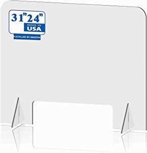 EWQREWR Sneeze Guard Panel with Transaction Window,Clear Acrylic Protective Shield for Counter and Desk,Portable Barrier Against Virus Spread Board (Large)