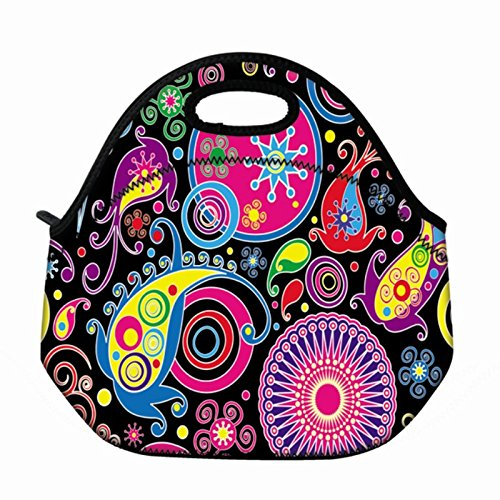 Womens Box School (Newplenty Waterproof Neoprene Reusable Durable Insulated Lunch Boxes for Women Teen Girls Lunch Bag Box Tote for School Work Office Picnic Travel Mom Bag Colorful Hippy)