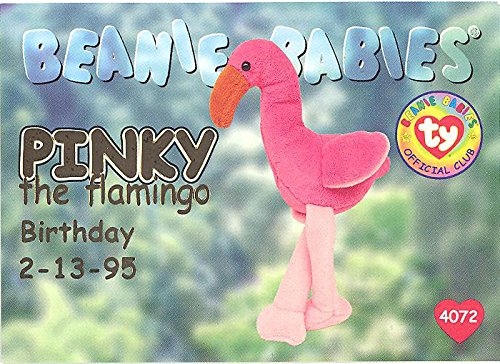 TY Beanie Babies BBOC Card - Series 1 Birthday (GOLD) - PINKY the Flamingo