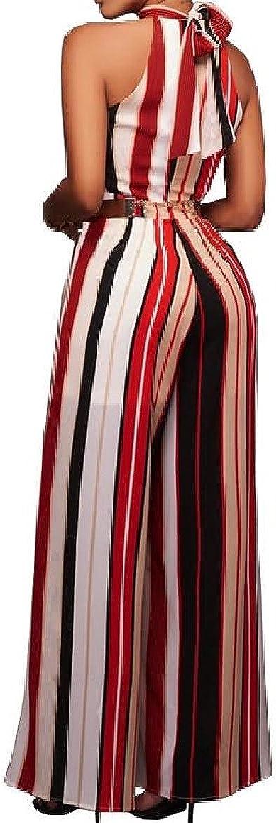 Winwinus Womens Elegant High Waisted Strip Jumpsuit Romper Trousers Red XS