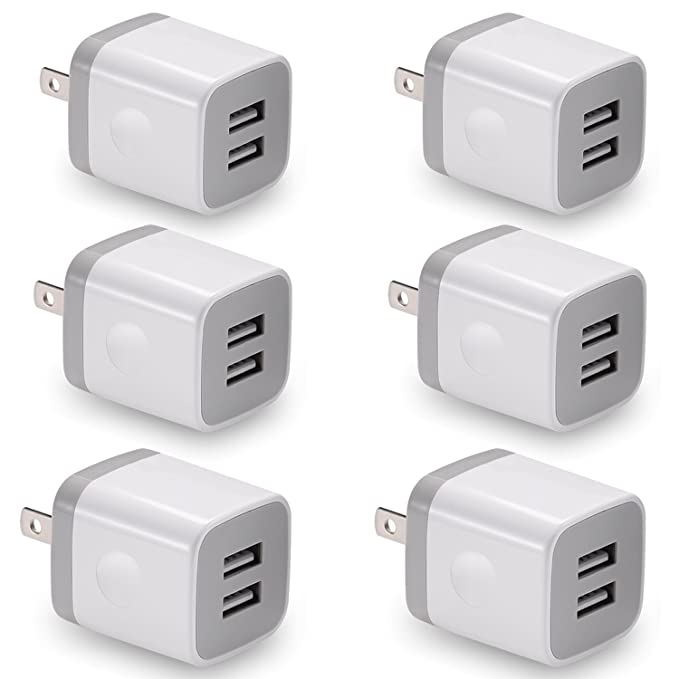 USB Wall Charger, BEST4ONE 6-Pack 2 1A/5V Dual Port USB Plug Power Adapter  Charging Block Compatible for Phone XS/MAX/XR/X / 8/7/6 Plus SE/5S,