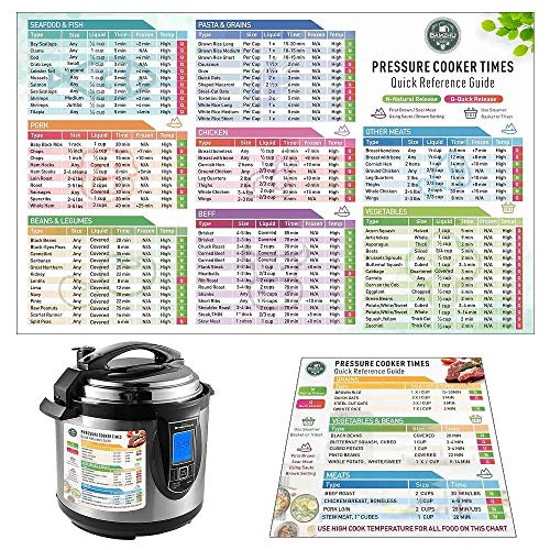 Instant Pot Cheat Sheet Magnet Set (2pcs) Electric Pressure Cooker Times Cookbook – Clear and Easy Cooking Time and…