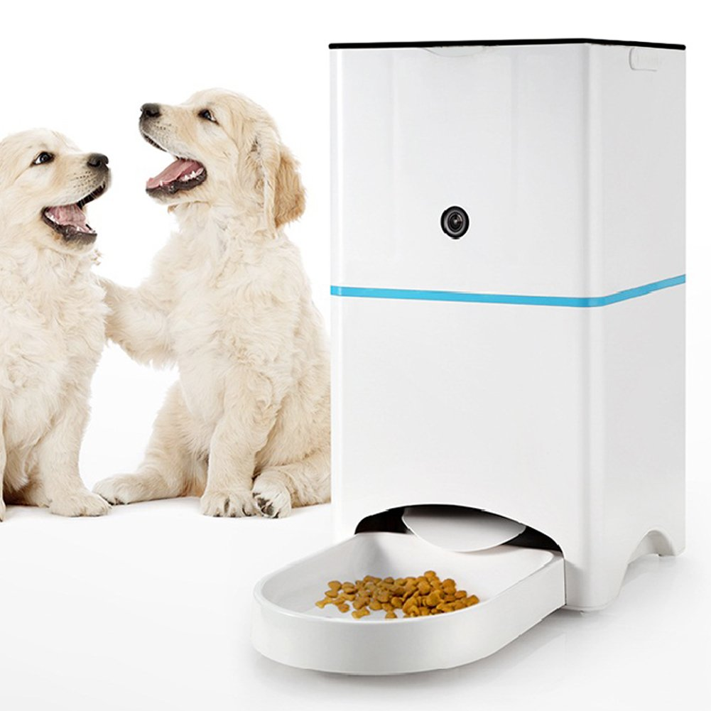 Pet Feeder with Camera, Automatic Pet Feeder with HD WI-Fi Camera for Gogs or Cats Controlled by Iphone or Android Mobile Phone APP Remote Intelligent, Pet Feeder Station