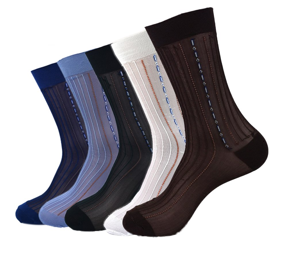 Nanxson Men's Summer Sheer Socks Super Thin Crew Socks Packs of 10 WZMD0028 (10pcs, one size)