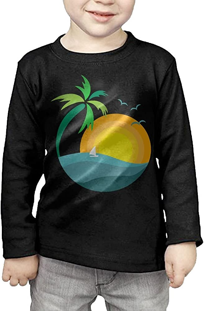 CERTONGCXTS Little Boys Palm Tree with Sunset ComfortSoft Long Sleeve T-Shirt