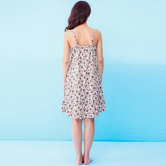 f5af56512a Vestiti domestici del pannello esterno di sonno floreale dolce della  ragazza del pigiami del cotone del collo V sexy ( Colore : Multicolore ,  dimensioni ...