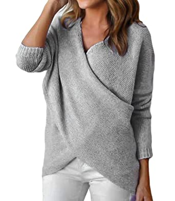 696f72c147a0 365-Shopping Women s V Neck Chunky Cross Wrap Loose Pullover Sweater Jumper  Top (S