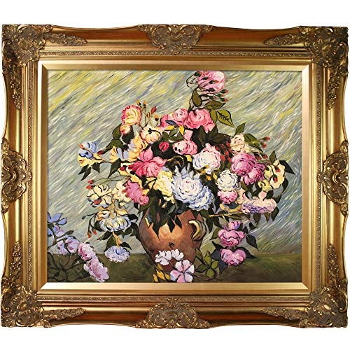 overstockArt Still Life Vase with Roses by Vincent Van Gogh, Hand Painted Oil with Victorian Gold Frame (Hand Painted Rose Vase)