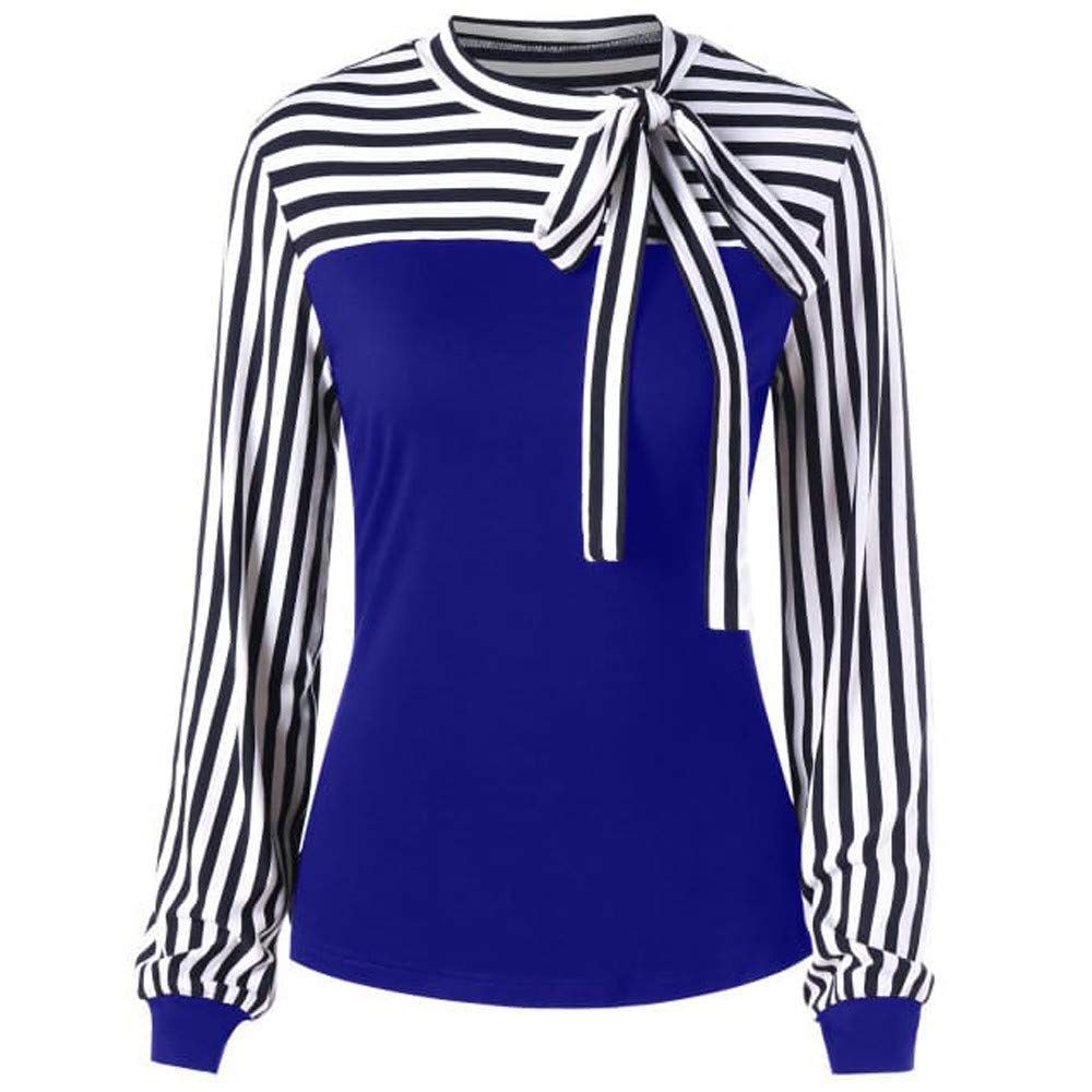 Women Blouse Long Sleeve Color Block Splice Stripe Bowknot Bandage Tunic Tops Shirt (L, Blue)