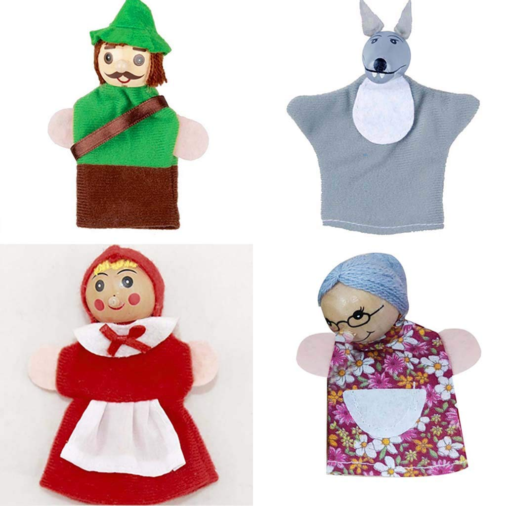 Little Red Riding Hood Finger Puppets Baby Educational Toy Set,Starwak Cute Hand Puppets Storytelling Dolls for Bed Time and Fairy Tale Time Story,Teacher Teaching Aids,Children Christmas Gift 4PCS