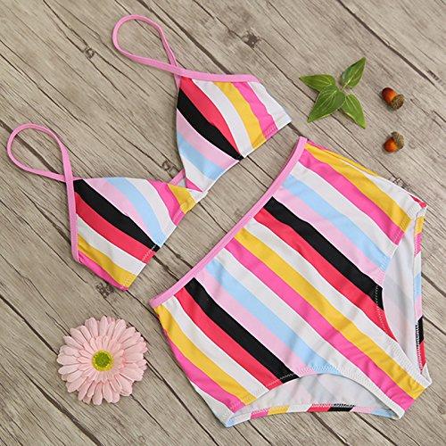 Macxy - Vita Alta Costume da Bagno Nero a Strisce Bianco Bikini Fasciatura delle Donne Top Push Up Costume da Bagno Femminile Costumi Usura della Spiaggia Biquini [S WC0345P1]