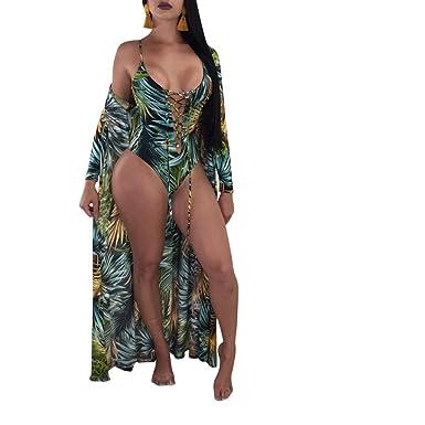 19f9b3189fa Amazon.com: Floral Monokini Swimsuits for Women Lace up Bikini Bathing Suit+Ponchos  Cover up: Clothing