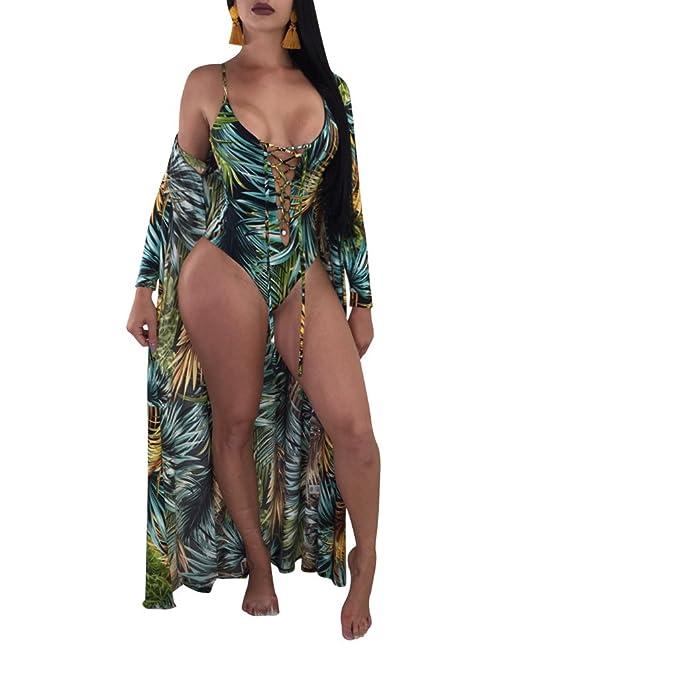 shop for best best place professional design Floral Monokini Swimsuits for Women Lace up Bikini Bathing Suit+Ponchos  Cover up