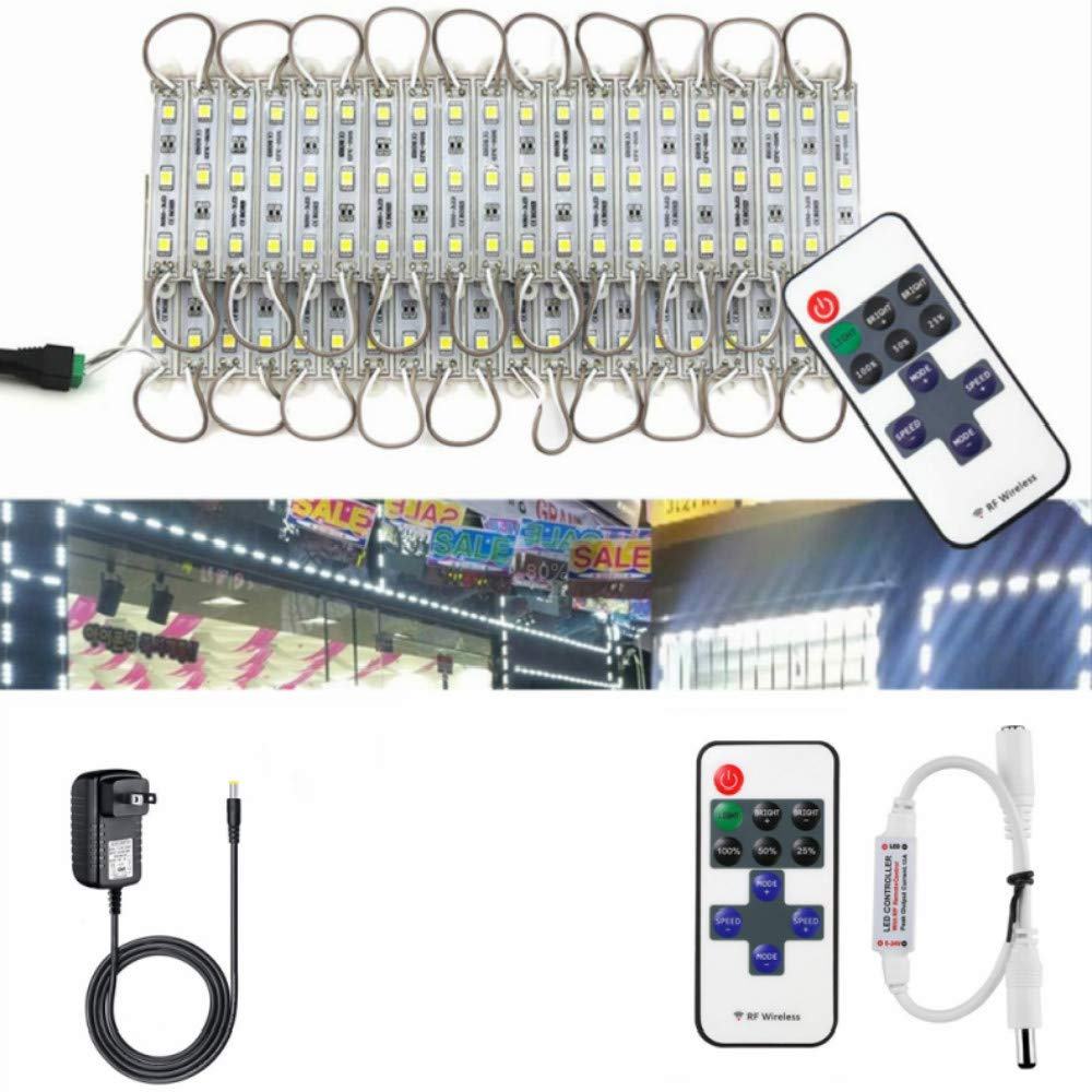 VIPMOON LED Storefront Lights,2 Pack/120LED 40pcs 5050 SMD LED Module Storefront Lights Waterproof Decorative Window Strip Light Lamp for Letter Advertising Signs LED Light Module with Remote - White