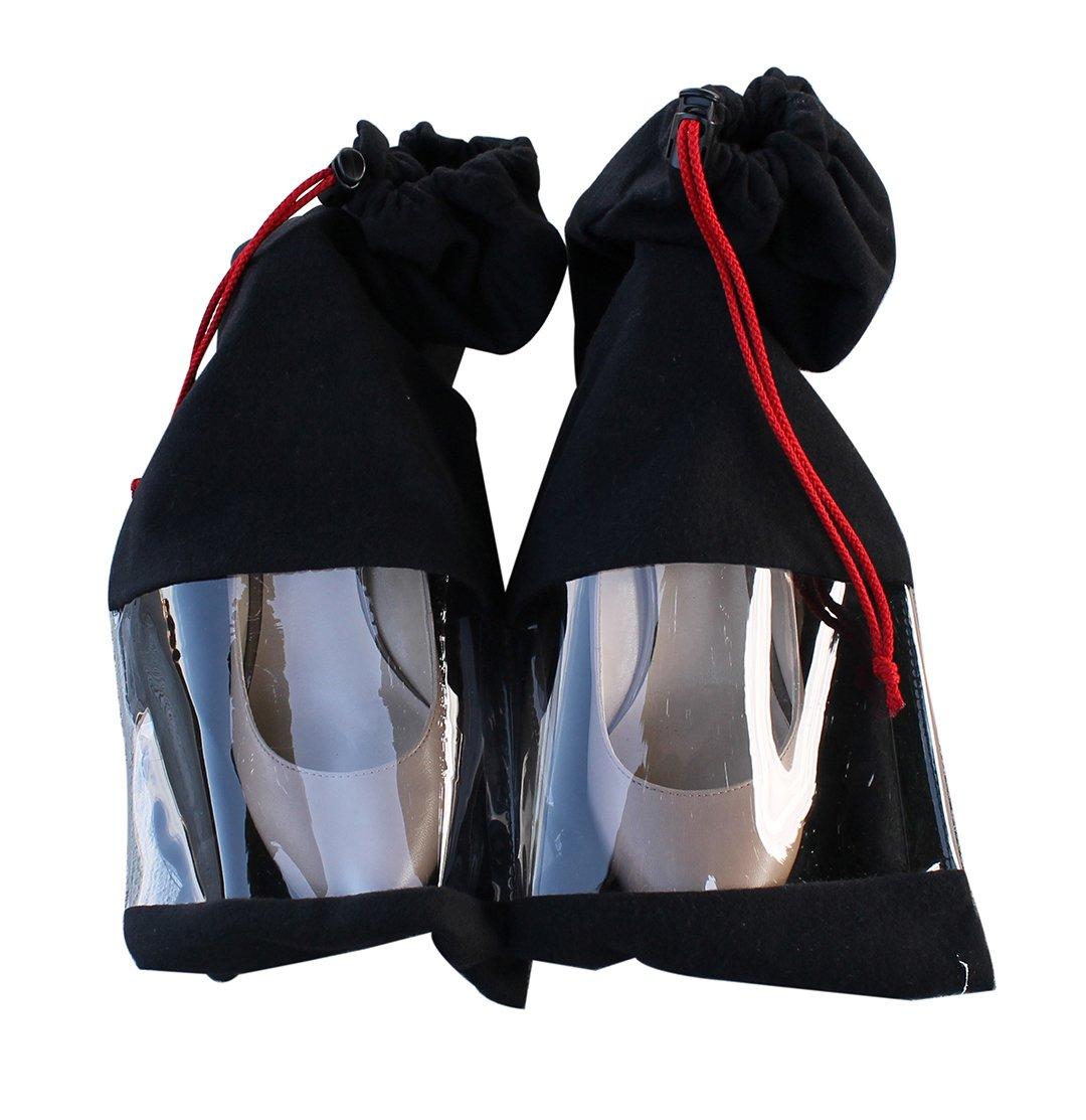 Shoe Storage Travel Bags 100% Cotton Drawstring & Clear Window Black (Set of 4)