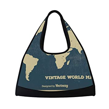 af66705529a7 Amazon.com | Gym Bag Vintage World Map Women Yoga Canvas Duffel Bag ...